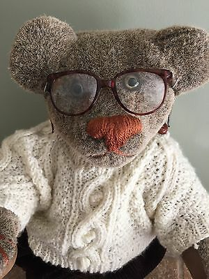 Rare Vintage 17 In Stuffed Toy Teddy Bear Mohair Movable Joints Clothes Glasses