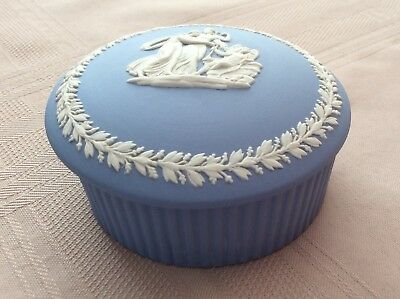 "Blue Wedgewood Trinket Box with Lid approx 3 1/2"" across"