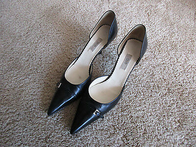 "Prada D'Orsay black leather pumps size 37.5 ( US size 7 ) with 3"" narrow heels"