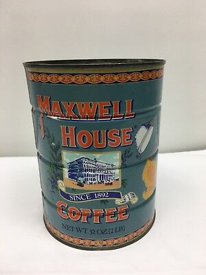 "Vintage Kitchen 6 1/2"" High Maxwell House Coffee Since 1892 2 Lb Tin Can *empty*"