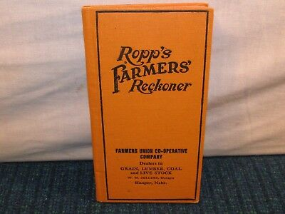 Antique 1919 ROPP'S Farmer's Reckoner Pocket Ledger CO OP Hooper Nebraska Grain
