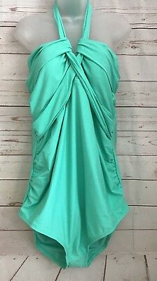 Liz Lange Maternity One Piece Halter Swimsuit Jade Green NEW Women's Size Large