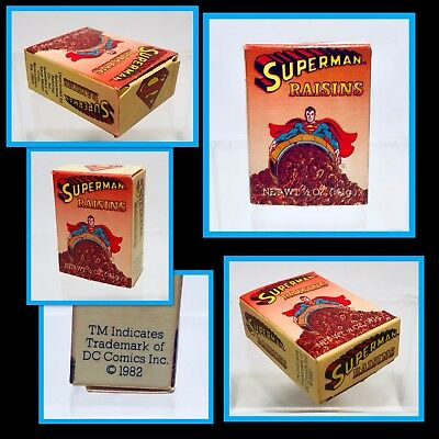 Vintage 1982 DC Comics SUPERMAN Raisin School Lunch Snack Box candy container