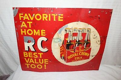 "Rare Vintage 1940's RC Royal Crown Cola Soda Pop Gas Station 28"" Metal Sign"