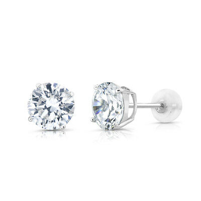 4.00 CT Brilliant Round Diamond Studs 14K Solid White Gold Womens Earrings