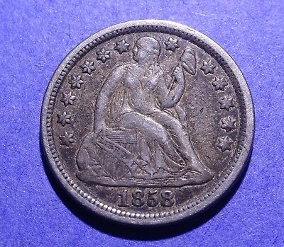 1858 Seated Liberty Dime Abt. XF