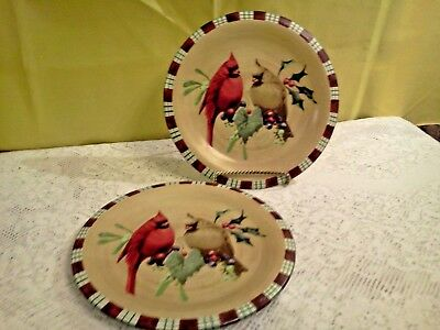 "LENOX WINTER GREETINGS EVERYDAY 8.5"" LUNCHEON PLATES CARDINAL Set of Two"