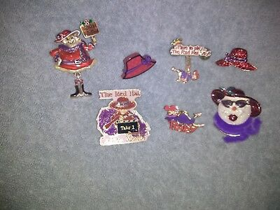 red hat society pins excellent condition lot 6
