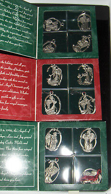 Longaberger Pewter Christmas Ornaments Angels 3 set of 4 - 12 Angels total