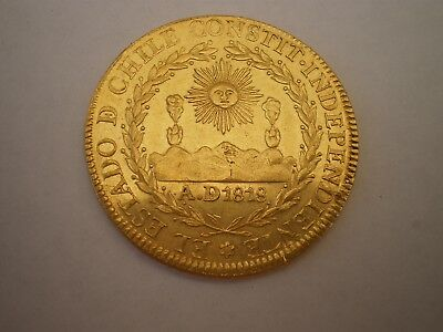 1820 Chile 8 Escudos (Dollars} Colonial Gold Coin