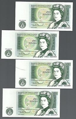 Bank of England QEII 1 pound x 4 pcs RUNNING serial number lot UNC!!!!!!!!!!!!!!