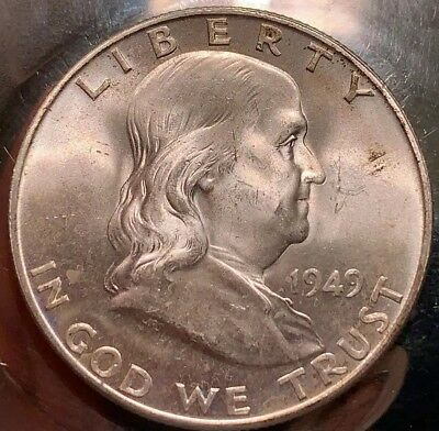 1949-D FRANKLIN Silver Half Dollar BU Choice 401