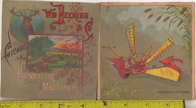 5 Vintage 1890 Wm Deering & Co Chicago U.S.A. Harvesting Machinery Picture Cards