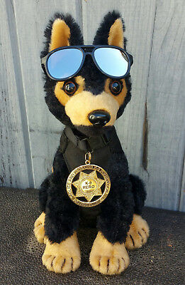 Black Tan German Shepherd Plush Police Dog w K9 Badge Mirrored Aviators charity