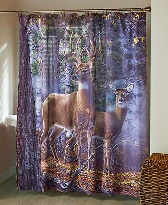 Deer Couple Woods Shower Curtain Country Lodge Cabin Bathroom Decor LS 426636015