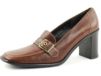 LKNW COACH Brown Buckle Chunky slim Heels square toe buckle 8 Made in ITALY
