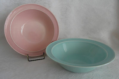 "TWO LuRay  TS&T Large Vegetable Serving Bowls 8 7/8"" (9"")  Pink & Green"