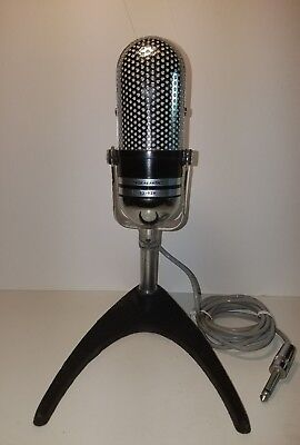 Vintage 1960S Realistic 33-929 Pill Microphone & Cast Iron Table Stand