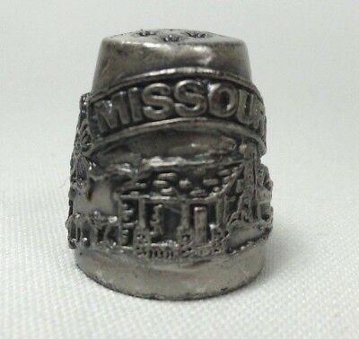 Collectible Pewter Thimble Missouri Cabin Scene