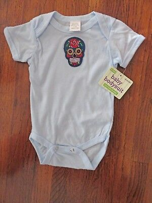 Blue Sugar Skull & Baby Blue cotton one piece 6-9m Baby Jumpsuit NWT free ship