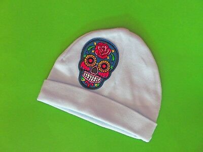 Blue cotton one size Baby Hat w/ Sugar Skull /Day of the Dead Patch  free ship