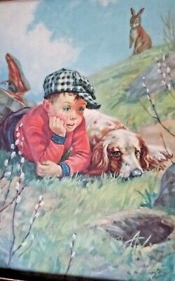 1930's Children's Art Lithograph Print Hy Hintermeister The Rabbit Hole~Boy~Dog