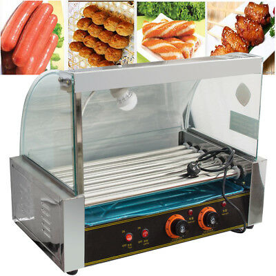 Roller Commercial 18 Hotdog Hot Dog 7 Roller Grill Cooker Machine W/Cover New US