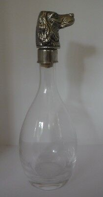 Vintage Lovely Clear Glass Wine Liquor Decanter with Pewter English Setter Top