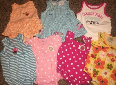 Lot Of 7 Carters Brand One Piece Shirts Dress Button Up Tanks GUC 3 Months