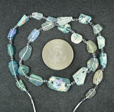 Ancient Roman Glass Beads 1 Medium Strand Aqua And Green 100 -200 Bc 927