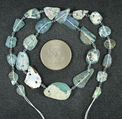 Ancient Roman Glass Beads 1 Medium Strand Aqua And Green 100 -200 Bc 928