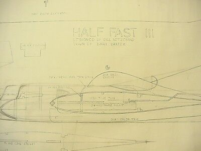 HALF FAST III Control Line Model Airplane Plans