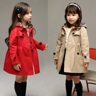USA Girl Kids Hooded Long Trench Rain Coat Jacket Parka Fleece Outwear Clothing