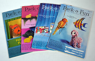 Lot 4 Vintage 1970s Pack-o-Fun Magazines Scrap Craft Childrens Fun Patterns