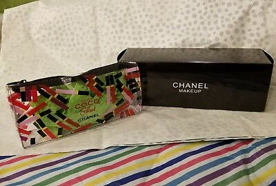 NIB 2017 Authentic Chanel Rouge Coco lip Gloss pattern Clear Vinyl Makeup Bag