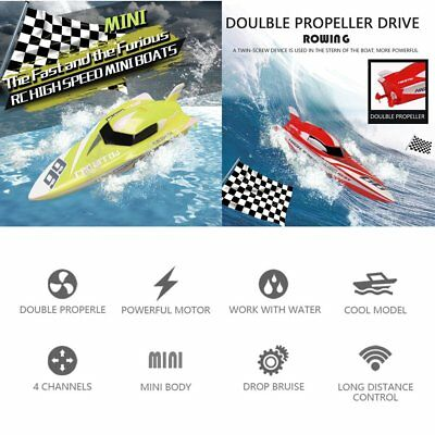 Mini Speed Ship Volvo Rowing Model 4CH 2.4G 2.4V High Powered RC Boat PVC ZL
