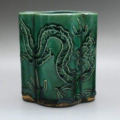 Chinese old green glaze porcelain dragon pattern brush pot hand-made c01