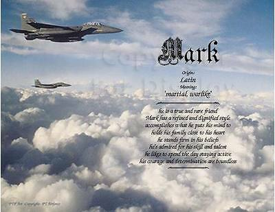 """First and Middle (optional) Name Meaning Personalized Print """"Air Force"""""""