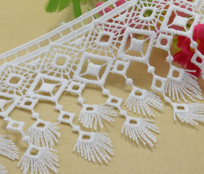 White Embroidered 9.2cm Trim Tassel Fringe DIY Lace Craft Price per 30cm Sewing