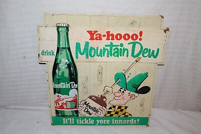 "Rare Vintage 1960's Mountain Dew Soda Pop Gas Station 18"" Embossed Sign"