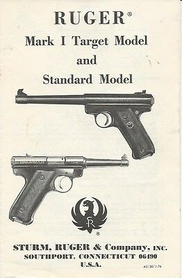 Ruger Mark 1 Target & Standard Model 22 Pistol 1976 Manual On cd