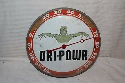 """Vintage c.1960 Dri-Power Gasoline Gas Station 12"""" Metal & Glass Thermometer Sign"""