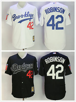 383d27d1 Brooklyn Dodgers #42 Jackie Robinson Cooperstown Jersey White/Black w/ Two  Patch