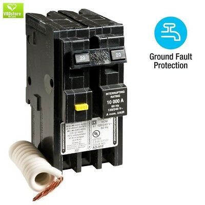 CIRCUIT BREAKER SWITCH Square D Homeline 20 Amp Double 2 Pole GFCI Plug In NEW