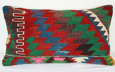 Turkish Kilim Lumbar Pillow 25x14, Kilim Rug Lumbar Cushion Cover