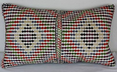 Turkish Kilim Lumbar Pillow 23x13, Kilim Rug Lumbar Cushion Cover