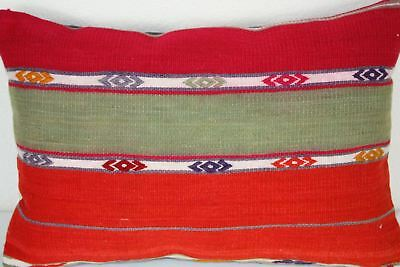 Turkish Kilim Lumbar Pillow 22x16, Kilim Rug Lumbar Cushion Cover