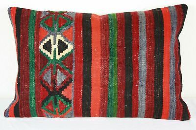 Turkish Kilim Lumbar Pillow 25x16, Kilim Rug Lumbar Cushion Cover