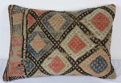 Antique Turkish Kilim Lumbar Pillow 22x15, Kilim Rug Lumbar Cushion Cover