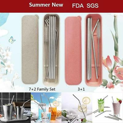 Stainless Steel Metal Drinking Straw Reusable Straws + Cleaner Brush + Box FW